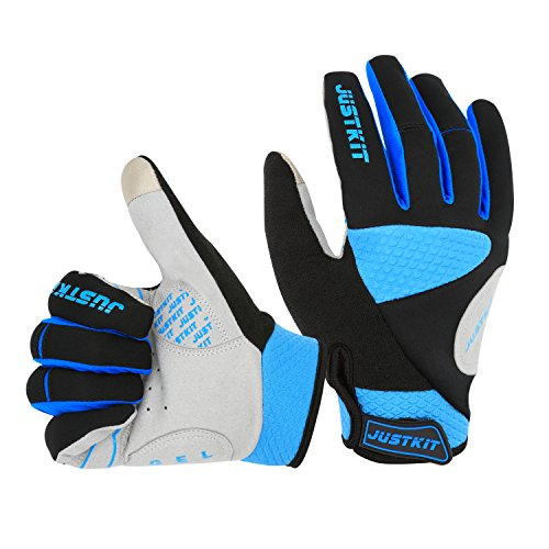 Justkit Windproof Cycling Gloves Touch Screen Full Finger Gloves